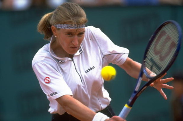Jun 1996:  Steffi Graf of Germany in action during the French Open at the Roland Garros Stadium, Paris. \ Mandatory Credit: Gary M Prior /Allsport