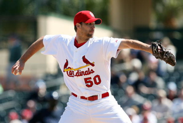 JUPITER, FL - MARCH 02:  Starting pitcher Adam Wainwright #50 of the St. Louis Cardinals pitches against the Tampa Bay Rays during a spring training game at Roger Dean Stadium on March 2, 2009 in Jupiter, Florida. The Rays defeated the Cardinals 8-5.  (Ph