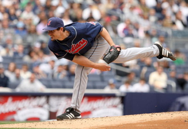NEW YORK - APRIL 19:  Carl Pavano #44 of the Cleveland Indians pitches against the New York Yankees at Yankee Stadium on April 19, 2009 in the Bronx borough of New York City.  (Photo by Ezra Shaw/Getty Images)