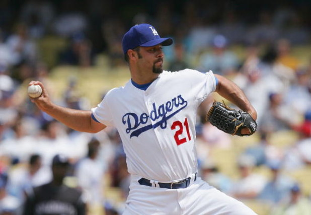 LOS ANGELES, CA - APRIL 27:   Esteban Loaiza #21 of the Los Angeles Dodgers pitches against the Colorado Rockies at Dodger Stadium on April 27, 2008 in Los Angeles, California.  (Photo by Lisa Blumenfeld/Getty Images)