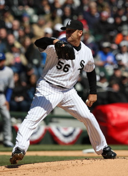 CHICAGO - APRIL 07: Mark Buehrle #56 of the Chicago White Sox delivers the ball against the Kansas City Royals during the Opening Day game on April 7, 2009 at U.S. Cellular Field in Chicago, Illinois. (Photo by Jonathan Daniel/Getty Images)