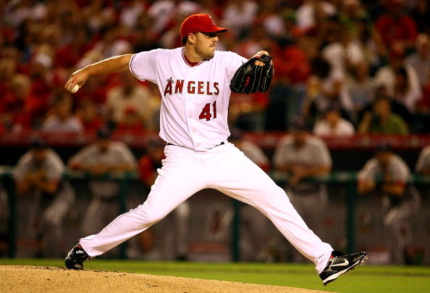 ANAHEIM, CA - OCTOBER 01:  Starting pitcher John Lackey #41 of the Los Angeles Angels of Anaheim delivers a pitch in the first inning against the Boston Red Sox during game one of the American League Division Series at Angel Stadium on October 1, 2008 in