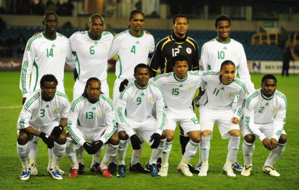 LONDON - FEBRUARY 11:  The National team of Nigeria prior to the International friendly match between Nigeria and Jamaica at the Den on Feruary 11, 2009 in London, England.  (Photo by Mike Hewitt/Getty Images)
