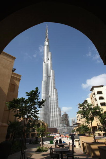 DUBAI, UNITED ARAB EMIRATES - JANUARY 04: The Burj Dubai skyscraper stands over 800 meters (approximately 890 yards) and is currently the tallest structure built by men on January 4, 2009 in Dubai, United Arab Emirates. (Photo by Alexander Hassenstein/Get