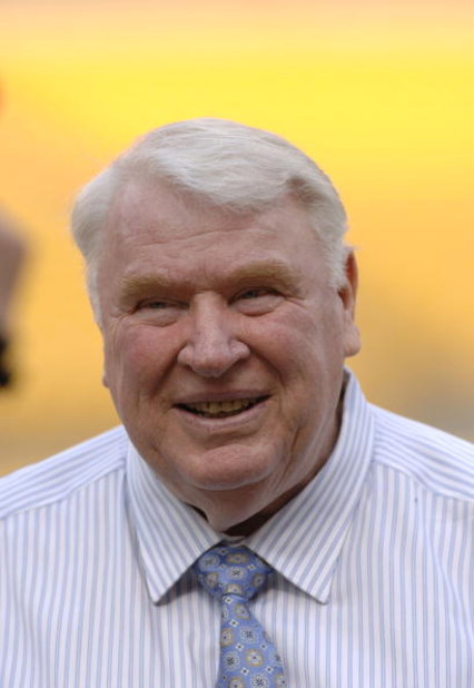TV commentator John Madden stands on the sidelines as the Pittsburgh Steelers host the Miami Dolphins at Heinz Field, September 7, 2006. The Steelers defeated the Dolphins, 28-17.  (Photo by Al Messerschmidt/Getty Images)