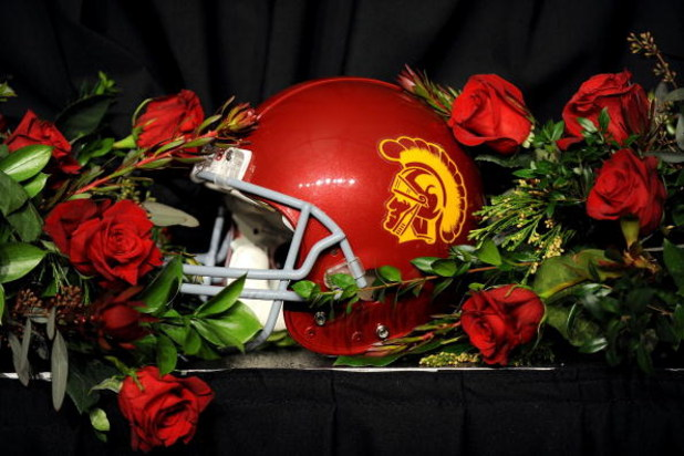 PASADENA, CA - JANUARY 01:  A USC Trojans helmet sits on a table surrounded by roses after USC defeated the Penn State Nittany Lions at the 95th Rose Bowl Game presented by Citi on January 1, 2009 at the Rose Bowl in Pasadena, California.  (Photo by Harry