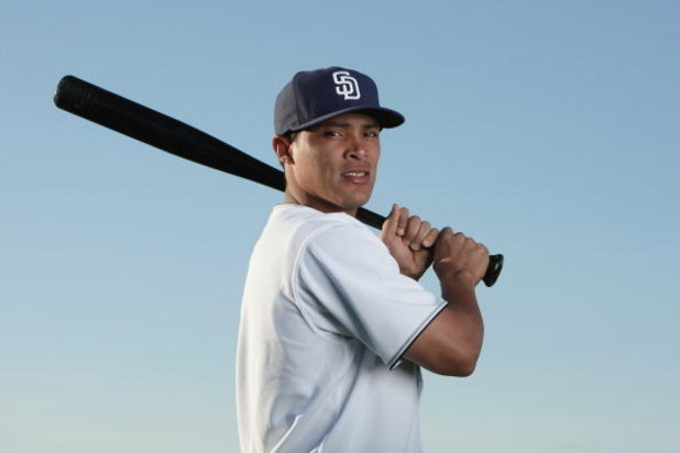 PEORIA, AZ - FEBRUARY 24:  Everth Cabrera #1 of the San Diego Padres poses during photo day at Peoria Stadium on February 24, 2009 in Peoria, Arizona. (Photo by Donald Miralle/Getty Images)