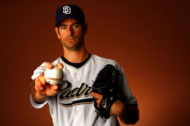 PEORIA, AZ - FEBRUARY 22:  Pitcher Mark Prior #22 of the San Diego Padres poses for a portrait during spring training on February 22, 2008 at the Peoria Sports Complex in Peoria, Arizona.  (Photo by Jamie Squire/Getty Images)