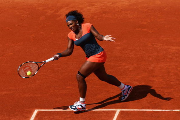 PARIS - MAY 26:  Serena Williams of the USA hits a forehand during her Women's Singles First Round match against Klara Zakopalova of the Czech Republic on day three of the French Open at Roland Garros on May 26, 2009 in Paris, France.  (Photo by Ryan Pier