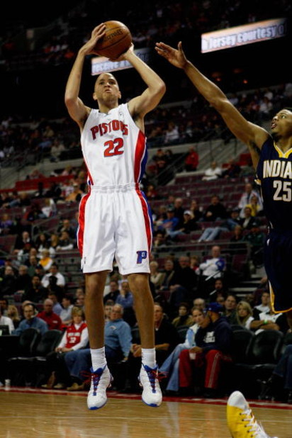 AUBURN HILLS, MI - OCTOBER 29:  Tayshaun Prince #22 of the Detroit Pistons goes up for a shot over Brandon Rush #25 of the Indiana Pacers during the game on October 29, 2008 at the Palace of Auburn Hills in Auburn Hills, Michigan.  The Pistons won 100-94.