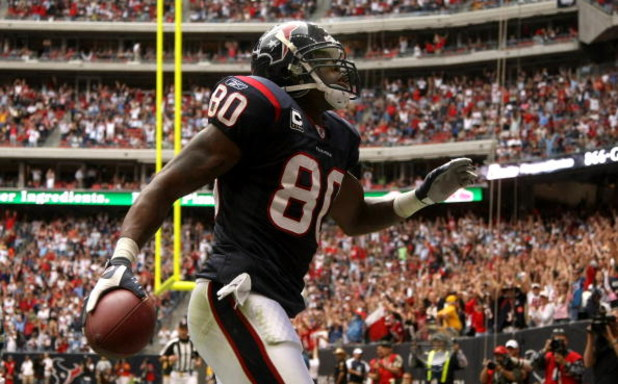 HOUSTON - DECEMBER 14:  Wide receiver Andre Johnson #80 of the Houston Texans celebrates after making a touchdown catch against the Tennessee Titans on December 14, 2008 at Reliant Stadium in Houston, Texas.  (Photo by Stephen Dunn/Getty Images)