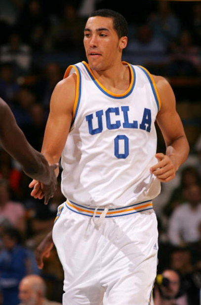 WESTWOOD, CA - MARCH 05:  Drew Gordon #0 of the UCLA Bruins celebrates after scoring in the first half during their NCAA basketball game against the Oregon State Beavers at Pauley Pavilion on March 5, 2009 in Westwood, California. The Bruins defeated the