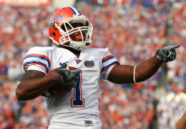 JACKSONVILLE, FL - NOVEMBER 01:  Wide receiver Percy Harvin #1 of the Florida Gators celebrates after his touchdown run in the first quarter while taking on the Georgia Bulldogs at Jacksonville Municipal Stadium on November 1, 2008 in Jacksonville, Florid