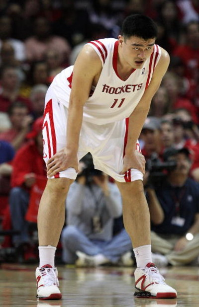 HOUSTON - APRIL 26:  Center Yao Ming #11 of the Houston Rockets during play against the Portland Trail Blazers in Game Four of the Western Conference Quarterfinals during the 2009 NBA Playoffs at Toyota Center on April 26, 2009 in Houston, Texas. NOTE TO