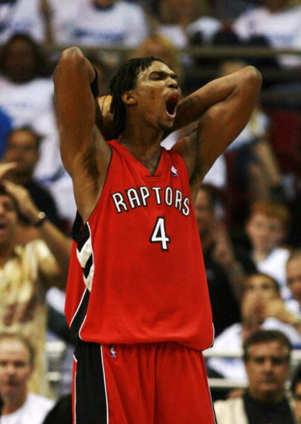ORLANDO, FL - APRIL 20:  Chris Bosh #4 of the Toronto Raptors reacts after being called for a foul in the second half against the Orlando Magic in Game One of the Eastern Conference Quarterfinals during the 2008 NBA Playoffs at the Amway Arena on April 20