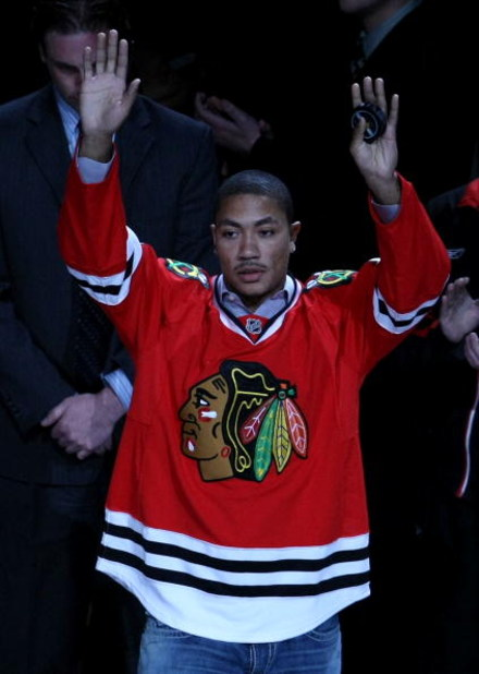 CHICAGO - MAY 07:  Derrick Rose of the Chicago Bulls acknoledges the crowd prior to dropping the puck for the ceremonial face off prior the Chicago Blackhawks hosting the Vancouver Canucks during Game Four of the Western Conference Semifinal Round of the