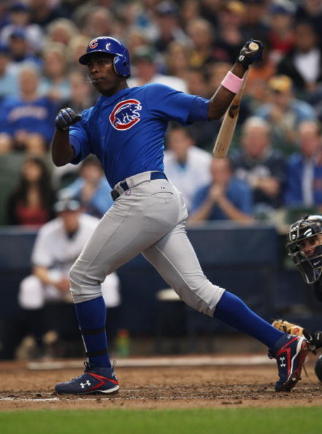 MILWAUKEE - MAY 10: Alfonso Soriano #12 of the Chicago Cubs takes a swing against the Milwaukee Brewers on May 10, 2009 at Miller Park in Milwaukee, Wisconsin. The Cubs defeated the Brewers 4-2.  (Photo by Jonathan Daniel/Getty Images)