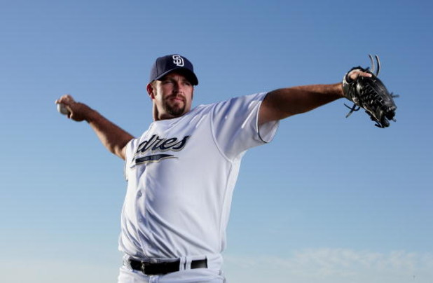 PEORIA, AZ - FEBRUARY 24:  Heath Bell #21 of the San Diego Padres poses during photo day at Peoria Stadium on February 24, 2009 in Peoria, Arizona. (Photo by Donald Miralle/Getty Images)