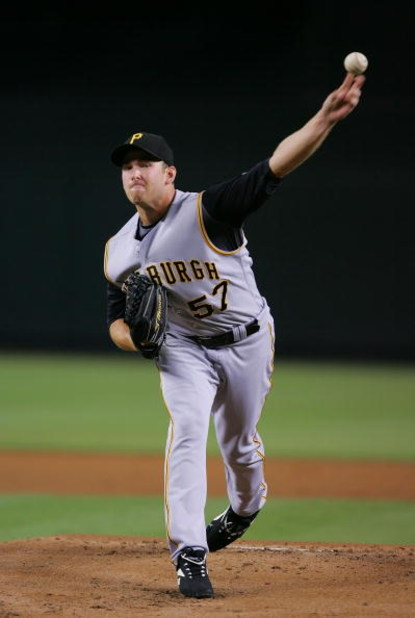 PHOENIX - AUGUST 05:  Zach Duke #57 of the Pittsburgh Pirates pitches during a game against the Arizona Diamondbacks at Chase Field on August 5, 2008 in Phoenix, Arizona.  (Photo by Lisa Blumenfeld/Getty Images)