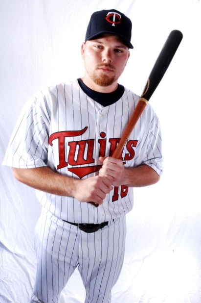 FORT MYERS, FL - FEBRUARY 25:  Jason Kubel  of the Minnesota Twins poses for a photo during spring training media day on February 25, 2008 at the Lee County Sports Complex in Fort Myers, Florida.  (Photo by Marc Serota/Getty Images)