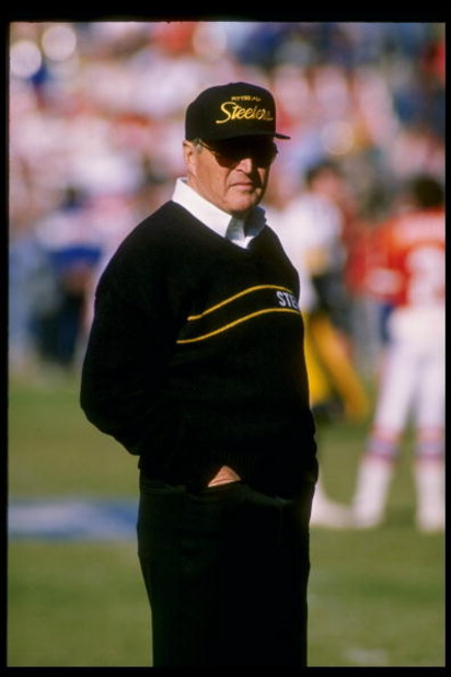 8 Nov 1989:  Head coach Chuck Noll of the Pittsburgh Steelers looks on during a game against the Denver Broncos at Three Rivers Stadium in Pittsburgh, Pennsylvania.  The Broncos won the game 34-7. Mandatory Credit: Tim de Frisco  /Allsport