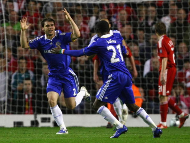 LIVERPOOL, ENGLAND - APRIL 08:  Branislav Ivanovic of Chelsea celebrates after scoring his team's first goal during the UEFA Champions League Quarter Final First Leg match between Liverpool and Chelsea at Anfield on April 8, 2009 in Liverpool, England.  (