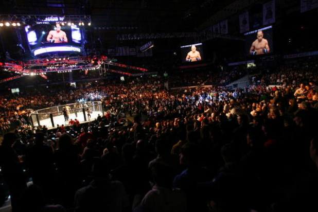 CHICAGO- OCTOBER 25:  People attend the UFC 90 at UFC's Ultimate Fight Night at Allstate Arena on October 25, 2008 in Chicago, Illinois. (Photo by Tasos Katopodis/Getty Images)