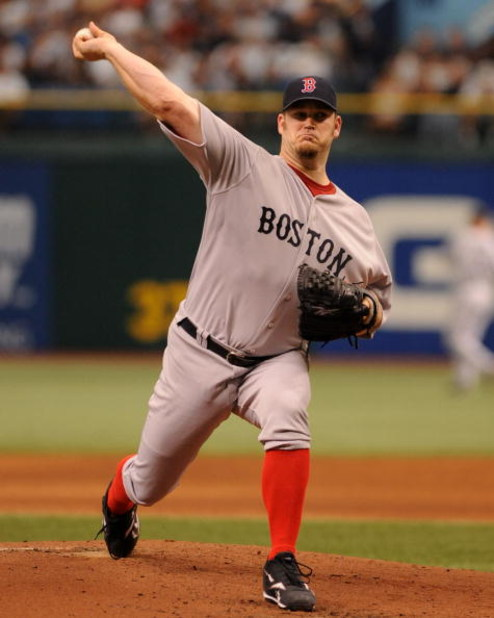 ST. PETERSBURG, FL - MAY 3: Pitcher Brad Penny #36 of the Boston Red Sox starts against the Tampa Bay Rays May 3, 2009 at Tropicana Field in St. Petersburg, Florida. (Photo by Al Messerschmidt/Getty Images)