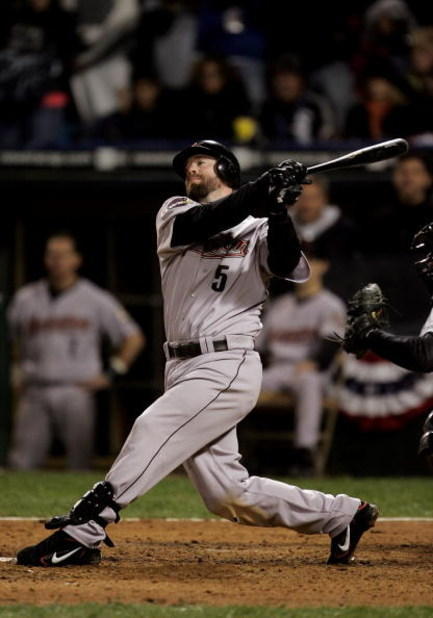 CHICAGO - OCTOBER 22:  Designated hitter Jeff Bagwell #5 of the Houston Astros strikes out to end the eigth inning of Game One of the 2005 Major League Baseball World Series against the Chicago White Sox at U.S. Celluar Field on October 22, 2005 in Chicag