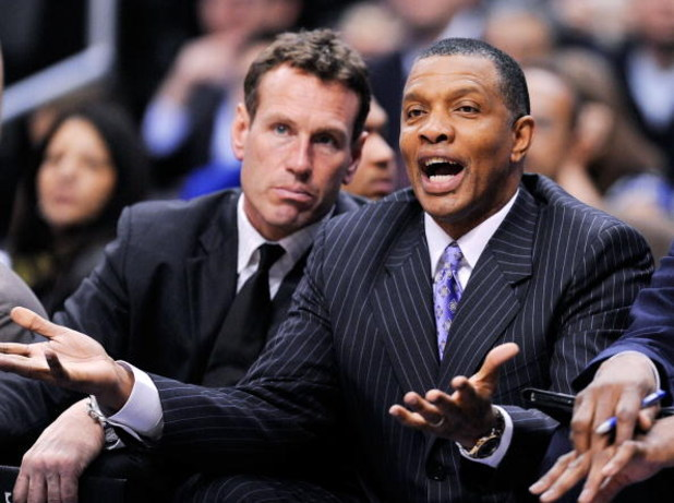 LOS ANGELES, CA - FEBRUARY 18: Interim coach Alvin Gentry of the Phoenix Suns complains from the bench as assistant coach Dan Majerle looks on during the first half against Los Angeles Clippers at the Staples Center on February 18, 2009 in Los Angeles, Ca