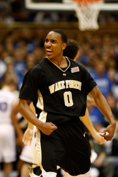 DURHAM, NC - FEBRUARY 22:  Jeff Teague #0 of the Wake Forest Demon Deacons reacts to making a basket against the Duke Blue Devils during their game at Cameron Indoor Stadium on February 22, 2009 in Durham, North Carolina.  (Photo by Streeter Lecka/Getty I