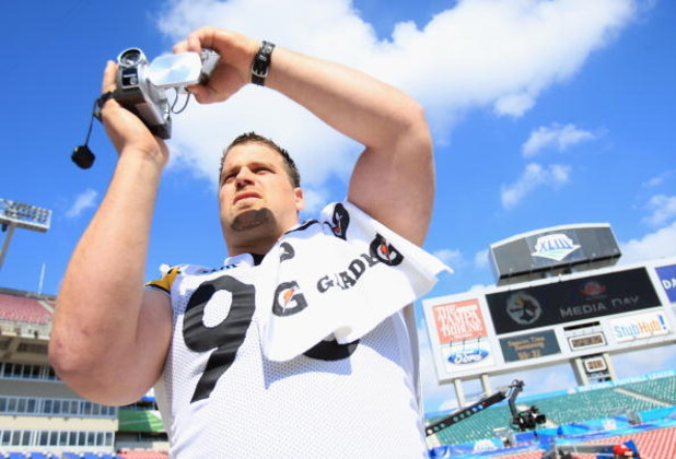 TAMPA, FL - JANUARY 27:  Defensive end Travis Kirschke #90 of the Pittsburgh Steelers video tapes during the AFC Media Day at Raymond James Stadium on January 27, 2009 in Tampa, Florida.  (Photo by Scott Halleran/Getty Images)