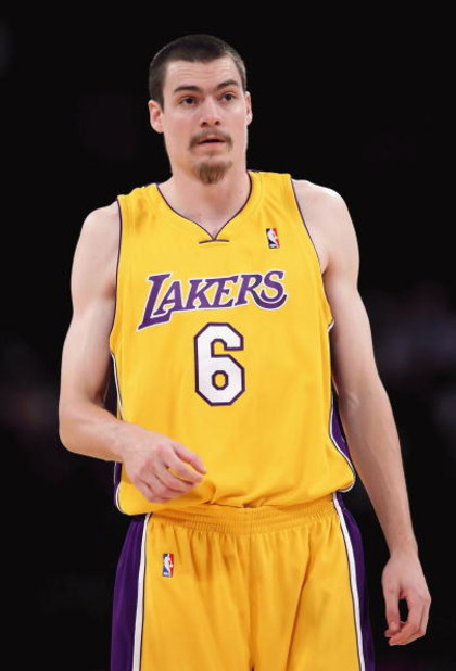 LOS ANGELES, CA - FEBRUARY 26:  Adam Morrison #6 of the Los Angeles Lakers walks on the court during the NBA game against the Phoenix Suns at Staples Center on February 26, 2009 in Los Angeles, California.  The Lakers defeated the Suns 132-106.  NOTE TO U