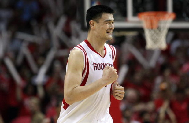 HOUSTON - APRIL 30:  Center Yao Ming #11 of the Houston Rockets in Game Six of the Western Conference Quarterfinals during the 2009 NBA Playoffs at Toyota Center on April 30, 2009 in Houston, Texas. NOTE TO USER: User expressly acknowledges and agrees tha
