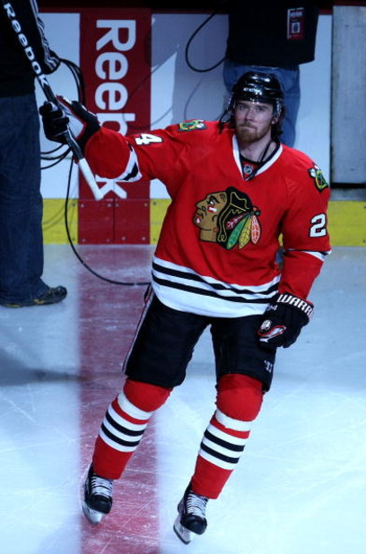 CHICAGO - APRIL 16:  Martin Havlat #24 of the Chicago Blackhawks acknowledges the fans after he was named the number 1 star of their 3-2 overtime win against the Calgary Flames during Game One of the Western Conference Quarterfinals of the 2009 Stanley Cu