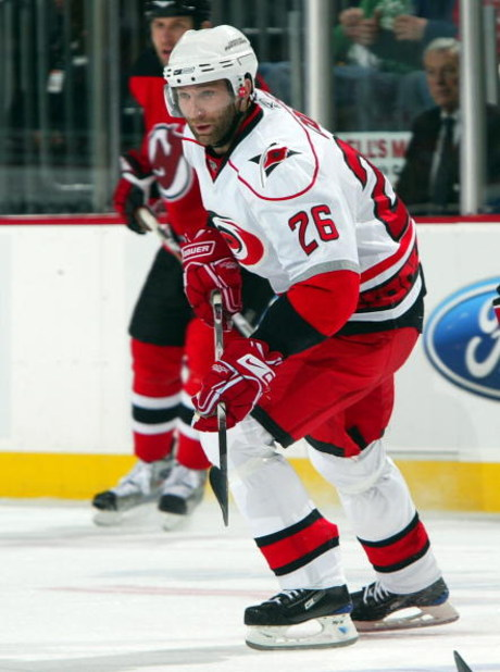 NEWARK, NJ - APRIL 23:  Erik Cole #26 of the Carolina Hurricanes skates against the New Jersey Devils during Game Five of the Eastern Conference Quarterfinal Round of the 2009 NHL Stanley Cup Playoffs on April 23, 2009 at the Prudential Center in Newark,