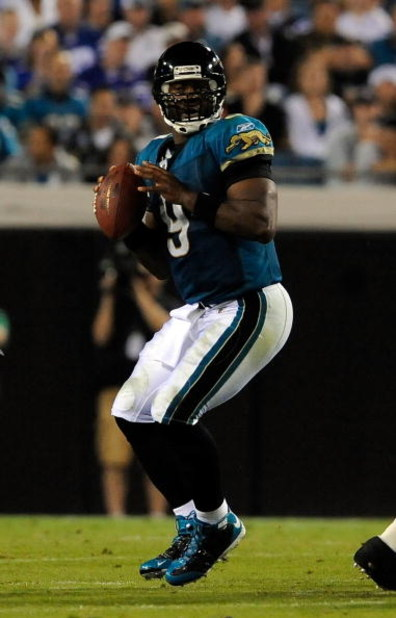 JACKSONVILLE, FL - DECEMBER 18:  David Garrard #9 of the Jacksonville Jaguars attempts a pass during the game against the Indianapolis Colts at Jacksonville Municipal Stadium on December 18, 2008 in Jacksonville, Florida.  (Photo by Sam Greenwood/Getty Im