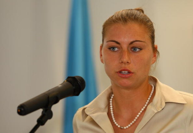 PARIS - MAY 20:  Vera Zvonareva, Russian tennis player talks to the media during the Division for Gender Equality of the Bureau of Strategic Planning, UNESCO announces the nomination of Vera Zvonareva of Russia as the fourth Promoter of Gender Equality fo