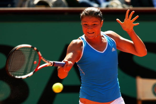 PARIS - JUNE 04:  Dinara Safina of Russia hits a forehand during the Women's Singles Semi Final match against Dominika Cibulkova of Slovakia on day Twelve of the French Open at Roland Garros on June 4, 2009 in Paris, France.  (Photo by Clive Brunskill/Get