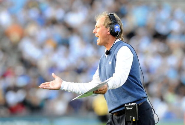 PASADENA, CA - NOVEMBER 08:   Head coach Rick Neuheisel of the UCLA Bruins reacts during the game against the Oregon State Beavers at the Pasadena Rose Bowl on November 8, 2008 in Pasadena, California.  (Photo by Lisa Blumenfeld/Getty Images)