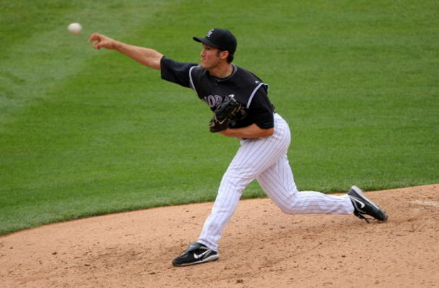 DENVER - MAY 10:  Relief pitcher Huston Street #16 of the Colorado Rockies delivers in the ninth inning against the Florida Marlins during MLB action at Coors Field on May 10, 2009 in Denver, Colorado. Street earned a save as the Rockies defeated the Marl