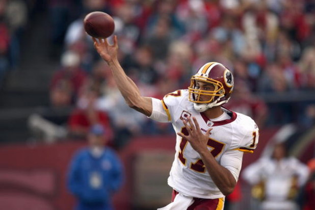 SAN FRANCISCO - DECEMBER 28:  Quarterback  Jason Campbell #17 of the Washington Redskins passes the ball during the game against of the San Fransisco 49ers at Candlestick Park on December 28, 2008 in San Francisco, California. (Photo by: Jonathan Ferrey/G