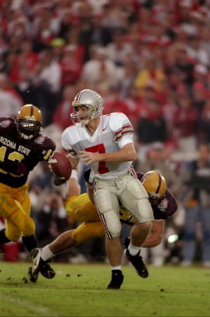 1 Jan 1997:  Joe Germaine of the Ohio State Buckeyes moves the ball during the Rose Bowl against the Arizona State Sun Devils at the Rose Bowl in Pasadena, California.  Ohio State won the game, 20-17. Mandatory Credit: Jed Jacobsohn  /Allsport