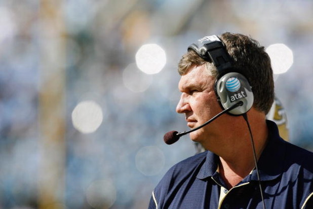 CHAPEL HILL, NC - NOVEMBER 08:  Head coach Paul Johnson of the Georgia Tech Yellow Jackets watches the action from the sidelines during the game against the North Carolina Tar Heels at Kenan Stadium on November 8, 2008 in Chapel Hill, North Carolina.  (Ph