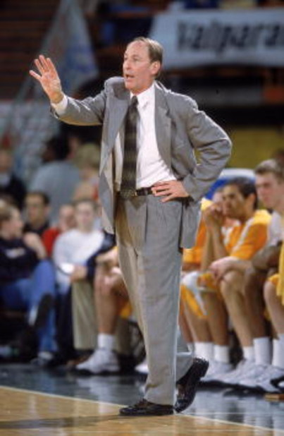 24 Nov 2000:   Head Coach Homer Drew of the  Valparaiso Crusaders  watches the action from the bench during the Great Alaska Shootout against the Missouri Tigers at the Sullivan Arena in Anchorage, Alaska. The Tigers defeated the Crusaders 77-61. Mandator