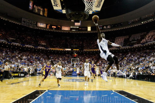ORLANDO, FL - JUNE 11:  Mickael Pietrus #20 of the Orlando Magic lays the ball up in Game Four of the 2009 NBA Finals against the Los Angeles Lakers on June 11, 2009 at Amway Arena in Orlando, Florida.  NOTE TO USER:  User expressly acknowledges and agree