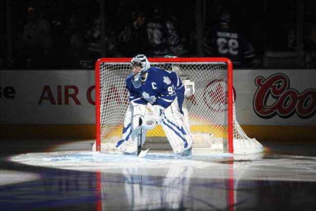 TORONTO - JANUARY 31:  Vesa Toskala of the Toronto Maple Leafs stands in the net before the game against the Pittsburgh Penguins at Air Canada Centre on January 31, 2009 in Toronto, Ontario, Canada. Toskala wore the #93 jersey of Doug Gilmour, whose jerse
