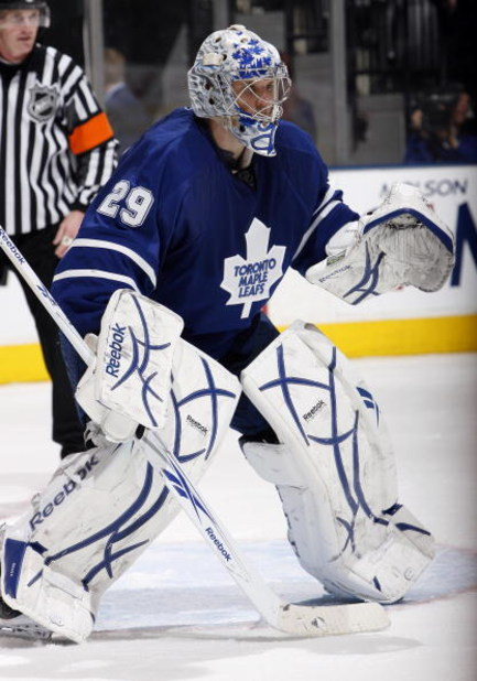 TORONTO - FEBRUARY 19: Justin Pogge #29 of the Toronto Maple Leafs during game action against the Columbus Blue Jackets on February 19, 2009 at the Air Canada Centre in Toronto, Ontario, Canada. (Photo by Dave Abel/Getty Images)