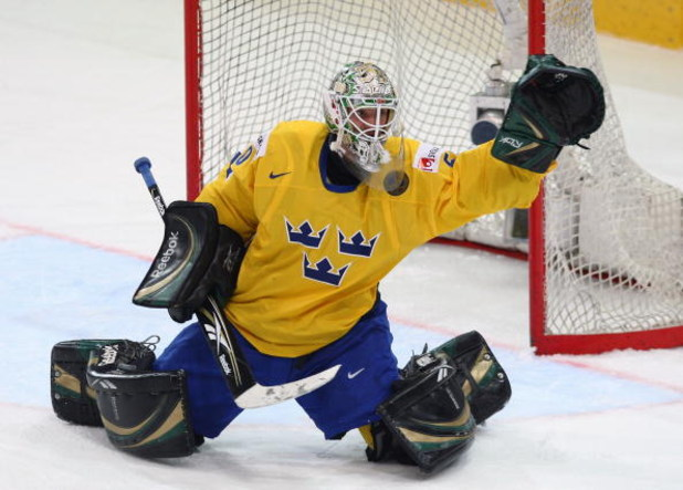 BERN, SWITZERLAND - MAY 07:  Jonas Gustavsson of Sweden tends the goal during the IIHF World Championship Quarter-Final betweenSweden and Czech Republic at the PostFinance Arena on May 7, 2009 in Bern, Switzerland.  (Photo by Mike Hewitt/Getty Images)