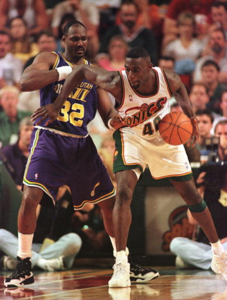 2 Jun 1996:  Seattle Supersonics forward Shawn Kemp (right) battles with Utah Jazz forward Karl Malone during the Western Conference Final game at Key Arena in Seattle, Washington. The Supersonics defeated the Jazz 90-86 to advance to the NBA finals.    M